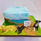 HAND-PAINTED-BEACH-DOG-CAKE